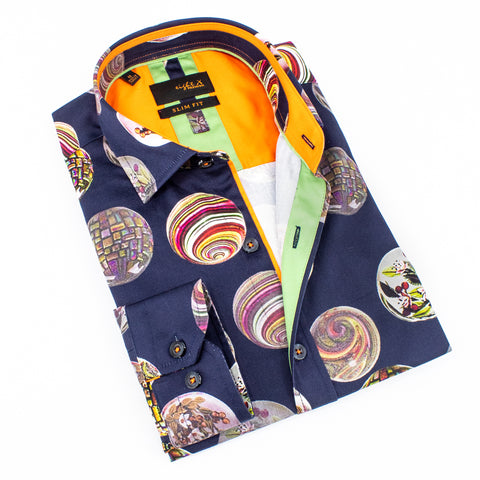 Folded navy-blue button up with large, multi-colored marble digital print.