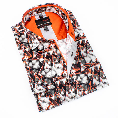 Folded button-up with greyscale geometric print and orange accents.