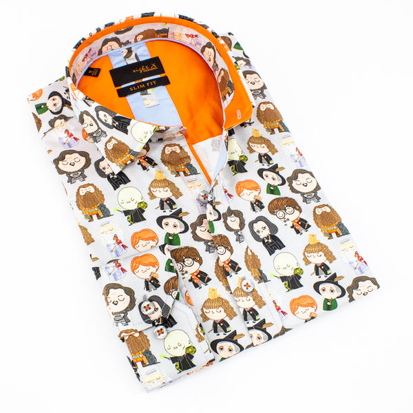 Folded light gray shirt with cartoon fantasy characters.