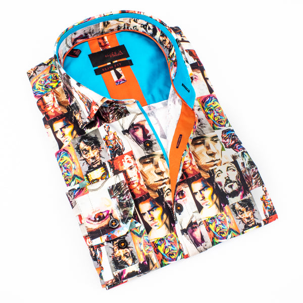 Folded button-up with digital print of painted portraits.