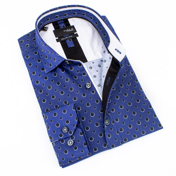 Folded navy-blue button up with black dot print.