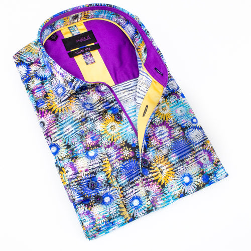 Folded button up with multi-colored digital daisy print. Features purple and mustard trim.