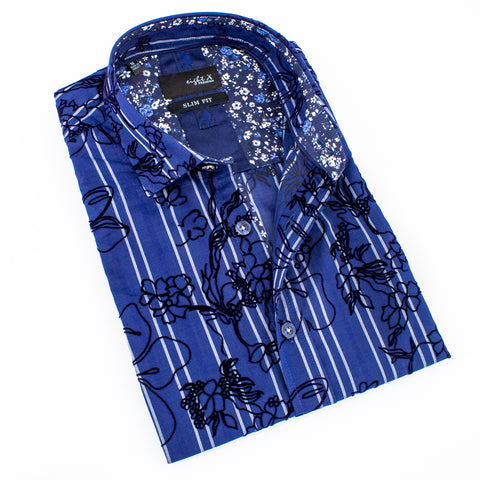 Folded short-sleeve navy blue button up with white stripes and black floral flocking.