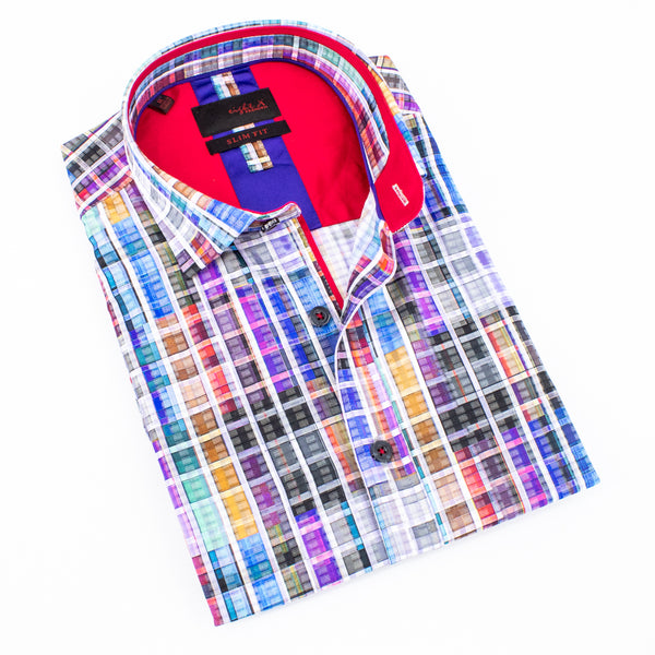 Folded short sleeve button up in multicolored checkered print.