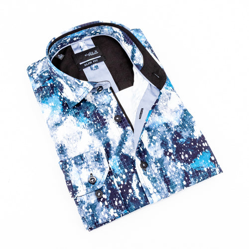 Folded button up with multi-tonal blue pattern and black trim.