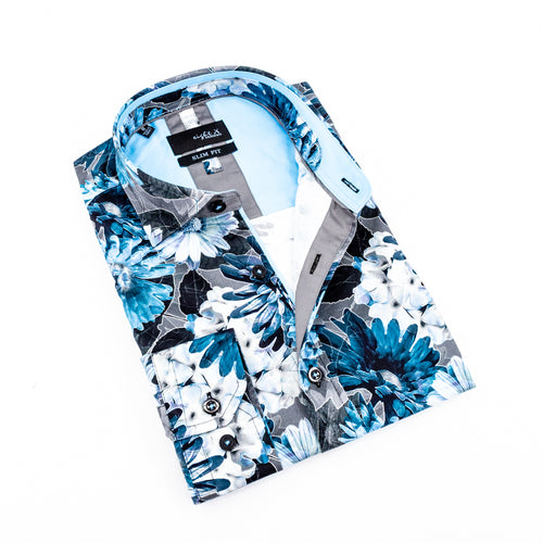 Folded gray button-up with floral blue digital print.