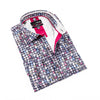 Charcoal button-up with retro multi-color diamond pattern and cream trim.