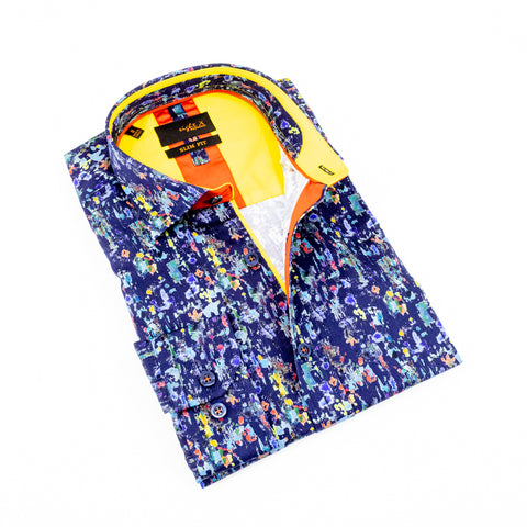Folded navy-blue button up with multi-color abstract print, Features yellow trim.