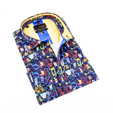 Folded navy button up with abstract digital print and mustard colored front-yoke and trim.