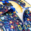 Close up of printed collar and mustard trim.