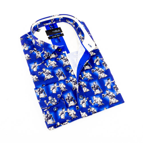Royal-blue button up with digital print of boxing men. Features cream trim.