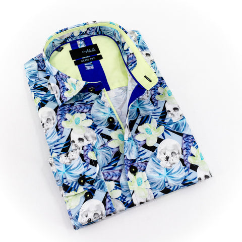 Folded blue Hawaiian print button-up with skull overlay.