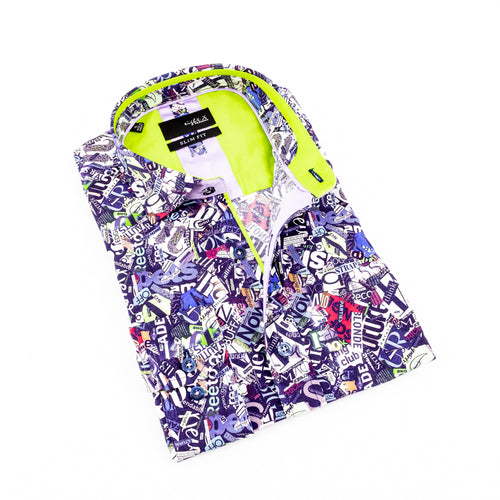Folded button-up with multi-color headline collage print and lime green trim.