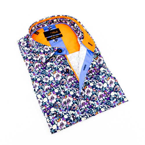 Folded button up with multi-color floral print and orange trim.