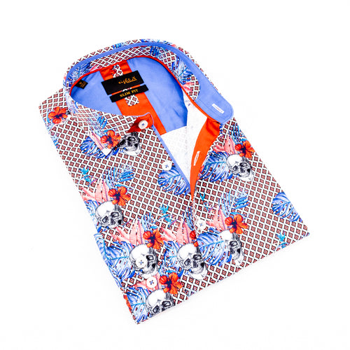 Folded diamond button-up with floral and skull overlay and blue trim.