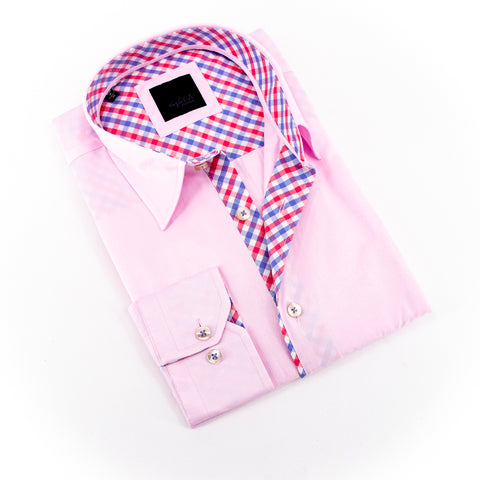 Pink Shirt With Plaid Trim