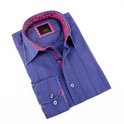 DENIM SHIRT W/ PAISLEY TRIM #M-235