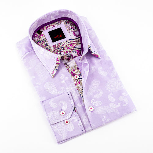 Lilac Jacquard Shirt With Paisley Trim