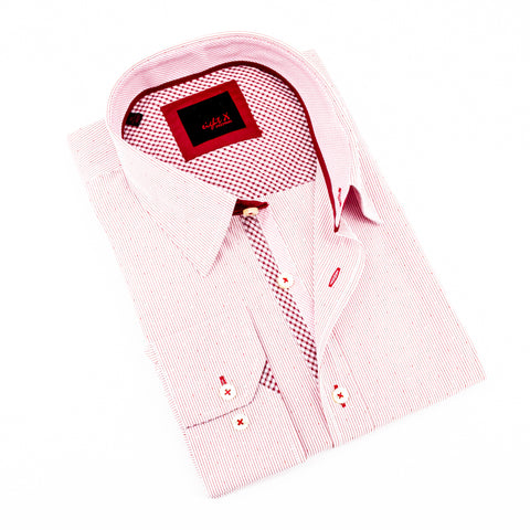 Red Jacquard Shirt With Checkered Trim