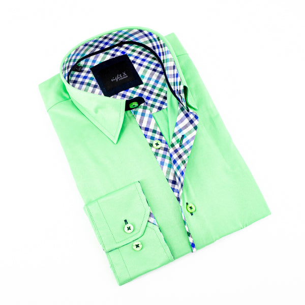 Green Shirt With Plaid Trim