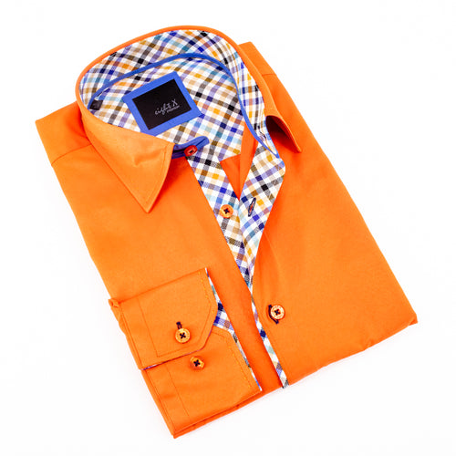 Orange Shirt With Plaid Trim