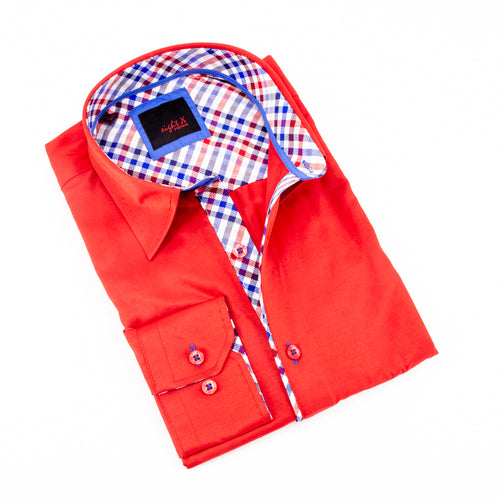 Red Shirt With Plaid Trim