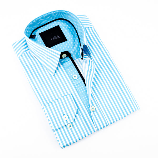 Striped Light Turquoise Shirt With Accent Trim