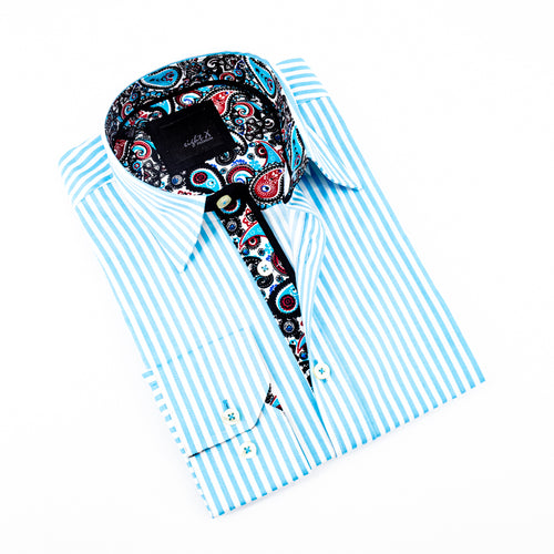 Striped Turquoise Shirt With Accent Trim