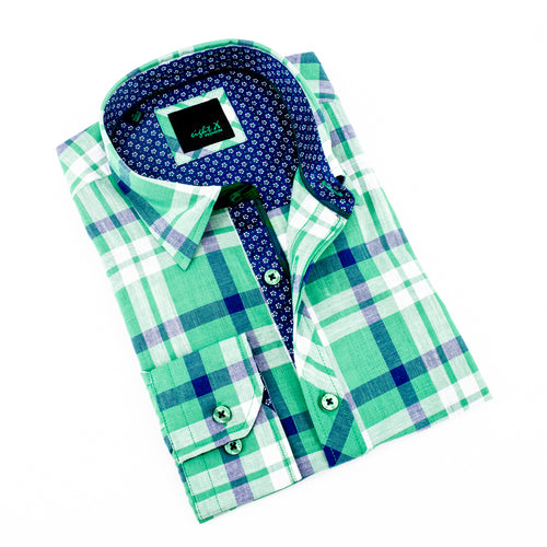 Green Linen Shirt With Floral Trim