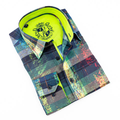 Digital Print Shirt With Green Trim #M-502
