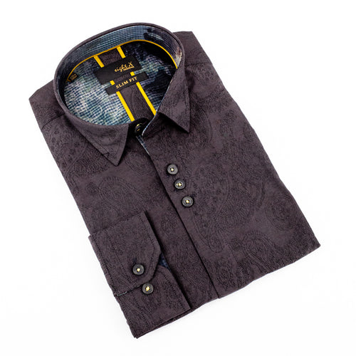 Black Paisley Jacquard Shirts With Flocking Trim