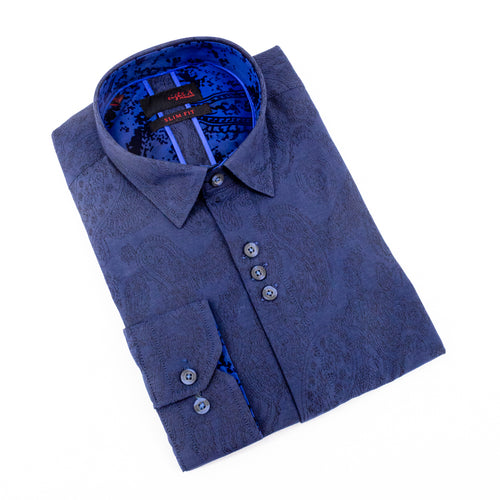 Navy Paisley Jacquard Shirts With Flocking Trim
