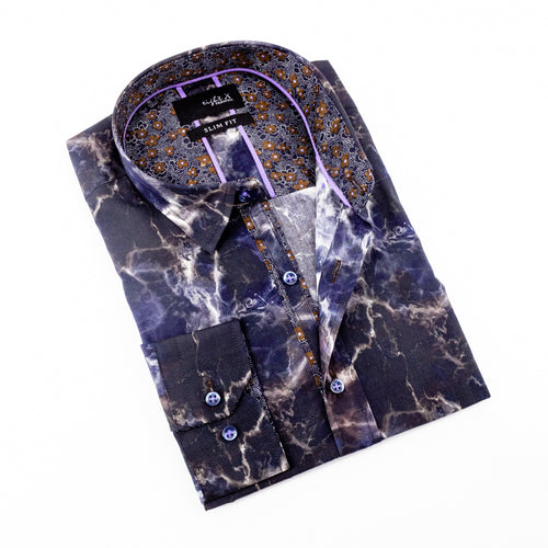 Multi Color Smoke Shirt With Floral Trim #M-523