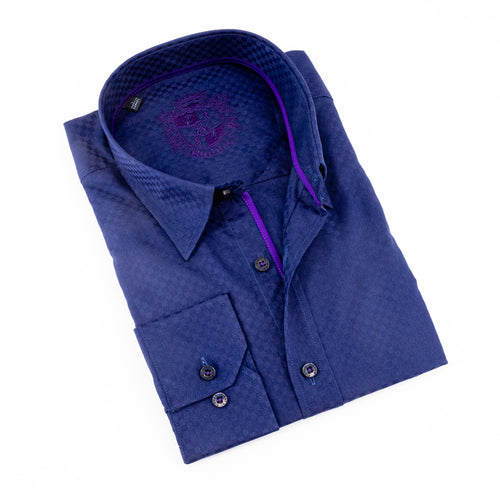 Solid Navy W/ Purple trim Jacquard Shirt #M-526