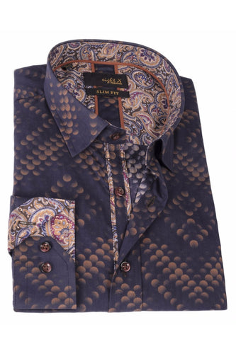 BROWN PRINT SHIRT W/PAISLEY TRIM #M-528-1
