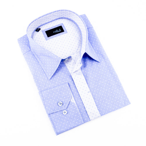 Blue Jacquard Hidden Button Shirt