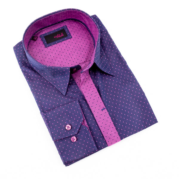 Purple Jacquard Hidden Button Shirt