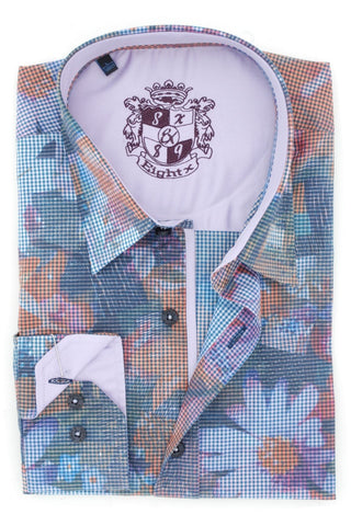 DIGITAL PRINT SHIRT W/LILAC TRIM #M-544