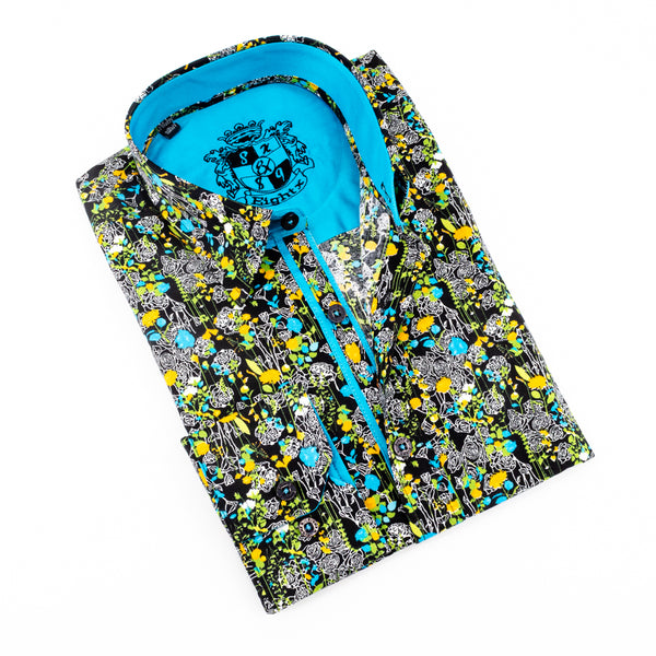 Floral Shirt With Turquoise Trim #M-571-1