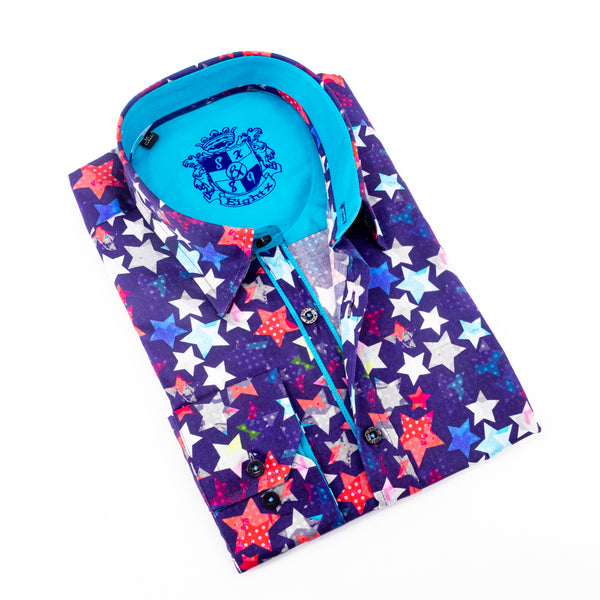 Stars Digital Print Shirts With Trim #M-573-1