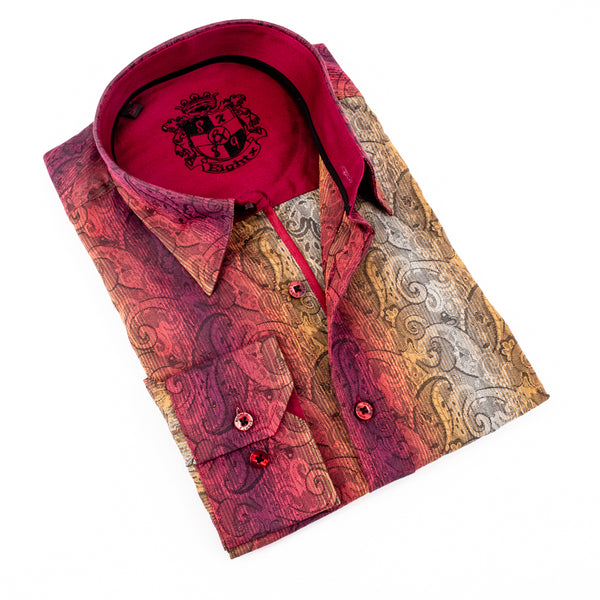 Paisley Jacquard Shirts With Trim #M-574-1