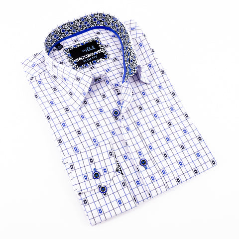 Navy Jacquard Shirt With Trim