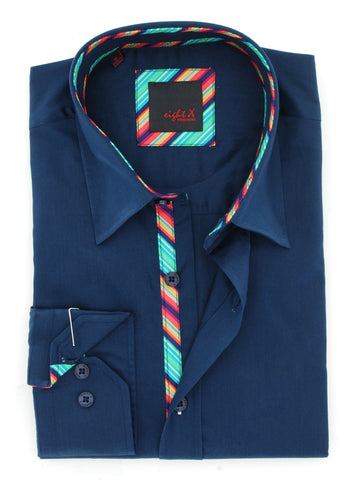Navy Shirt With Colorful Trim