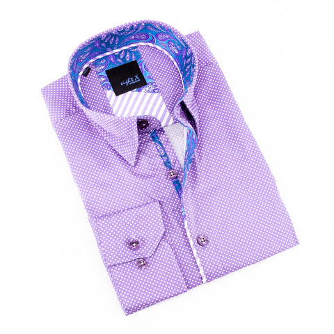 Lilac Polka Dot Shirt With Paisley Trim