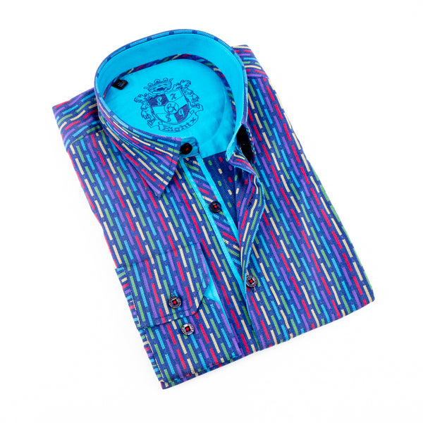 Jacquard Pattern Shirt With Blue Trim #M-819