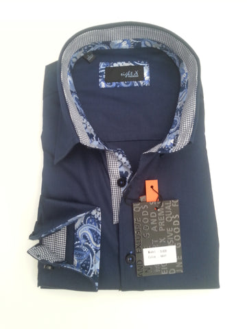 Solid Navy Shirt With Paisley Trim #M-820