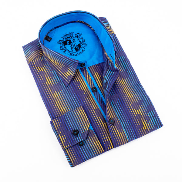 PRINT SHIRT W/ SOLID R.BLUE TRIM #M-825
