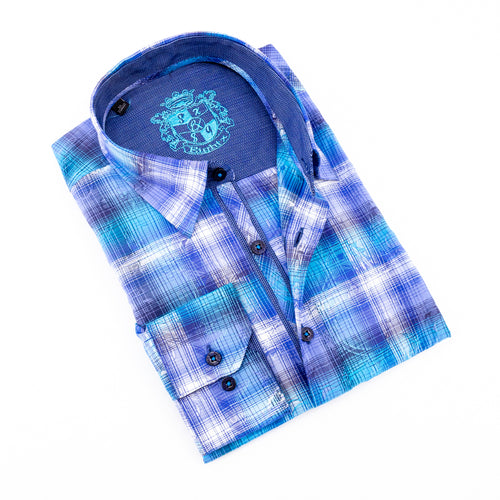 Blue Paisley Over Checkered Jacquard Shirts
