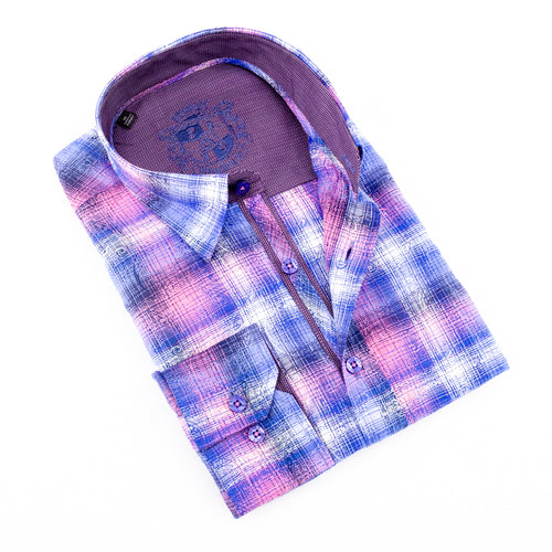 Pink Paisley Over Checkered Jacquard Shirt