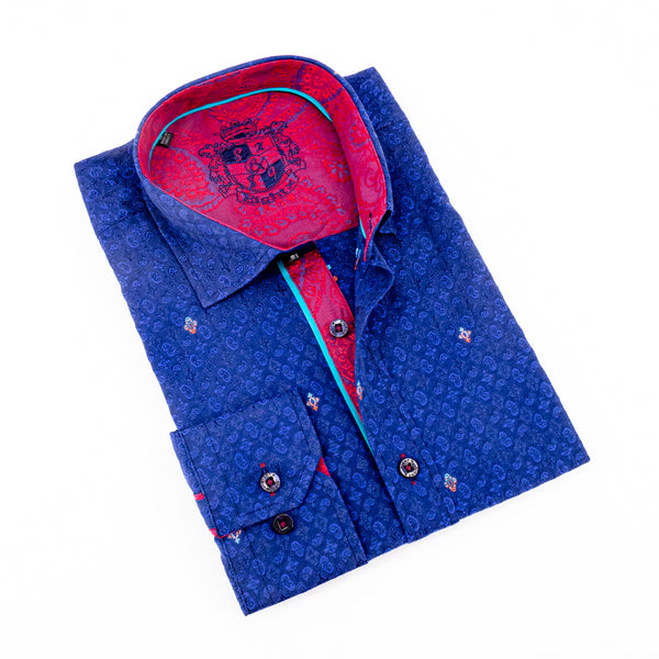 Paisley Jacquard Shirt With Red Trim #M-858